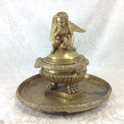 Antique Brass Centerpiece Covered Potpourri Compote Bowl Figural Victorian Angel