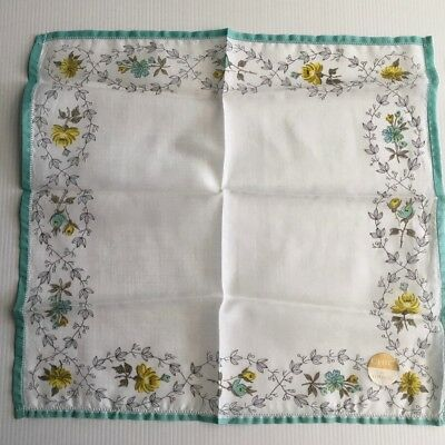 Vintage TOOTAL Ladies Handkerchief - Floral Print - Cotton Voile 29cm - UNUSED