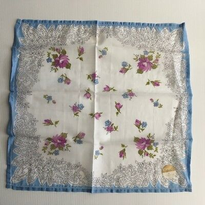 Vintage TOOTAL Ladies Handkerchief - Roses Print - Cotton Voile 29cm - UNUSED