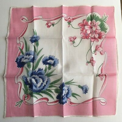 Gorgeous Vintage Ladies Handkerchief - Floral Print - Cotton Voile 29cm - UNUSED