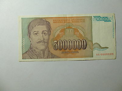 Old Yugoslavia Paper Money Currency - 1993 5 Million Dinara Petrovich Nice Circ.