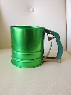 Vintage Retro Propert Multi Sift Green Anodised Aluminium Flour Sifter