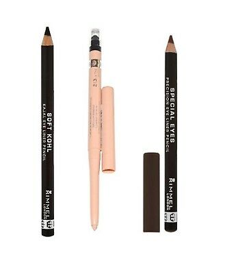 Rimmel Eye Liner Pencil Soft Kohl 061 Jet Black Exaggerate Waterproof Nude Brown