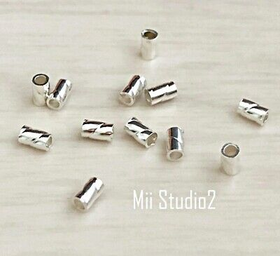 100pcs 3mmx2mm Twisted Sterling Silver Crimp Beads Tube Spacers F59S