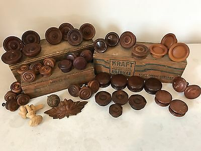 Lot of 47 Antique Vtg Wood Drawer Pulls, Knobs, Victorian, Hand Carved Hardware