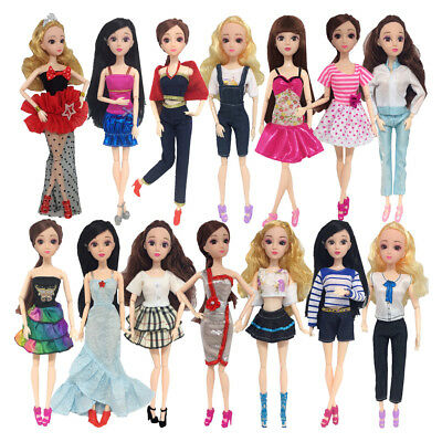 14Set/Pack Clothes Set Sleeveless Dress Princess Gown for 29cm Barbie Doll