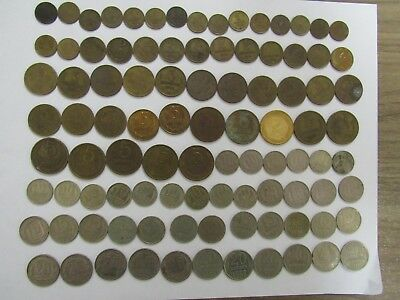 Lot of 96 Different Old Russia USSR Coins - 1953 to 1991 - Circulated & BU