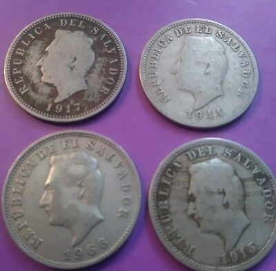 EL SALVADOR COINS 5 Centavos - Lot of 4 - 1915, 1917, 1944, 1966