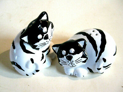 Cats Ceramic Salt And Pepper Shakers Ceramic White and Black Striped - New