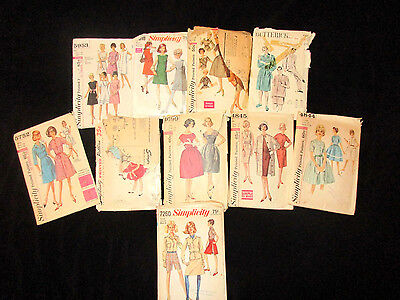 SEWING PATTERN LOT 10 Vintage 50-60's Simplicity Butterick Misses Mens Patterns