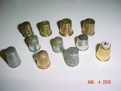 Lot Of Eleven (11) Metal Thimbles - Mixed Ages, Styles, Metals And Finishes