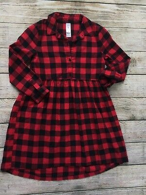 Carters Kid Girls Dress Size 8 Red Black Gingham Shirt flannel Buffalo Plaid EC