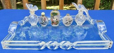 5 Vintage Antique Perfume Bottles Bird Glass Tray Chinese Snuff Nina Ricci Dove