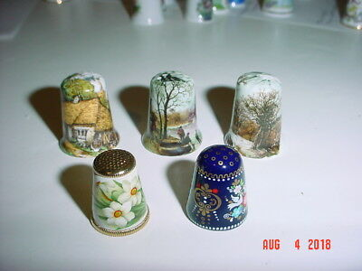 Lot Five (5) Thimbles Made In Austria - Metal And Ceramic