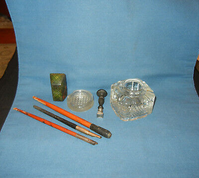 Nice Early Lot of Antique Desk Top Collectibles + Bookends  MAINE ESTATE