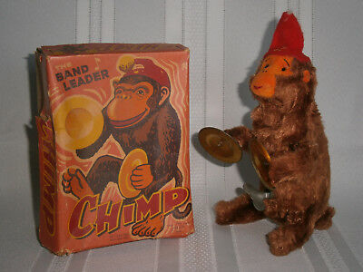 """Retro Vintage Alps """"The Band Leader"""" Wind-up Chimp Toy with Box 1950's Japan"""