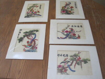 Five Japanese Silk Embroidered Paintings Pair of Birds Telling a Story Vibrant