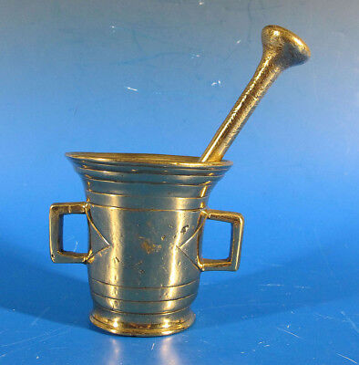 Antique Heavy OLD Old old Brass Mortar & Pestle Heavily Scarred From Use NR yqz