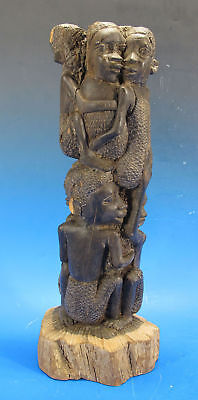 Vintage Makonde Tree of Life African Tribal Rosewood Sculpture Signed Paul yqz