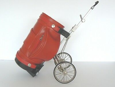 Red Golf Bag Wine Spirit Bottle Caddy Holder Wheels Collapsible Functional