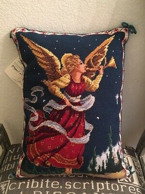 "Katha Diddel Needlepoint Angel  Pillow 13"" X 18"" Limited Edition New 127/300"