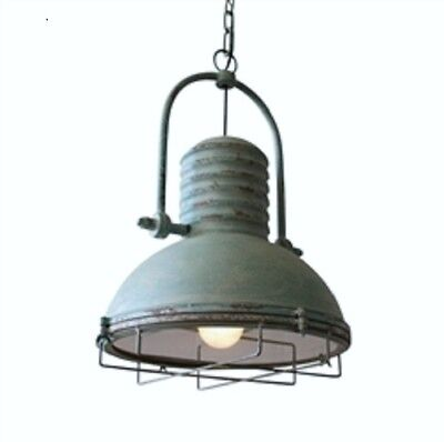Antique Turquoise Pendant Light With Wire Cage Farmhouse Loft Warehouse Style