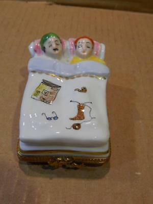 Limoges Rectangular Large Trinket Box Raised Couple in Bed Vintage