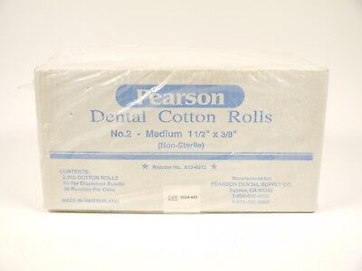 "NIB PEARSON DENTAL COTTON ROLLS NO. 2 MEDIUM 1 1/2"" x 3/8"" 2000 COUNT NON-STERIL"