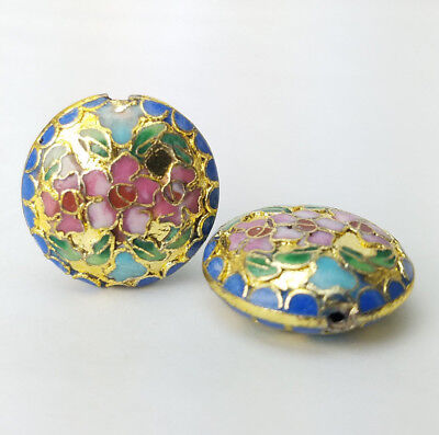 Bright Gold w Pink Flower Champleve Coin Cloisonne Chinese Enamel 22mm 2Beads