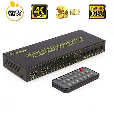HDMI Matrix Switch (6-Input 2-Output), Fiveboy HDMI Audio Extractor with IR Remo