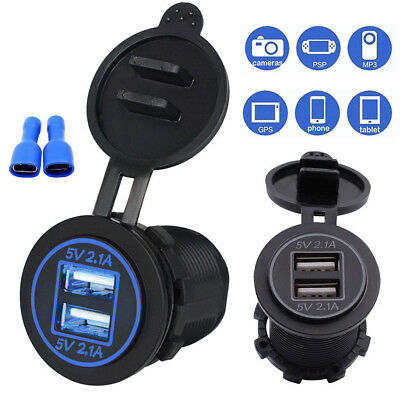 12V Car Dual USB Charger Socket with Blue LED Indicator Mount Panel Wire MA1625