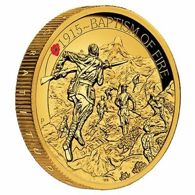 Baptism of Fire 2015 2oz Gold Proof High Relief Coin The ANZAC Spirit 100th year