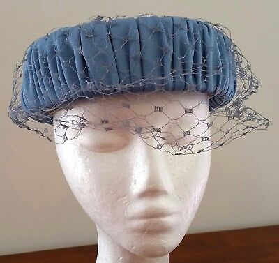 Vintage 50s CORNFLOWER BLUE Fabric Net Church Day Occasion HAT ONE SIZE