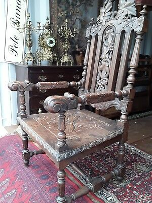 Antique Oak Victorian Chair Throne large Armchair Carved.