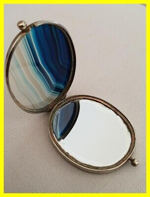 A Victorian Gilded On Base Metal Agate Sided Vanity Mirror Circa 1870