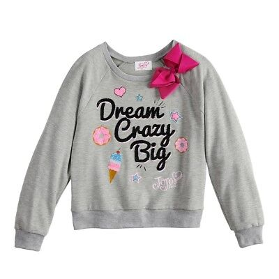 "NWT JoJo Siwa Sweatshirt ""Dream Crazy Big""- Nickelodeon Grey- Small Or Large"