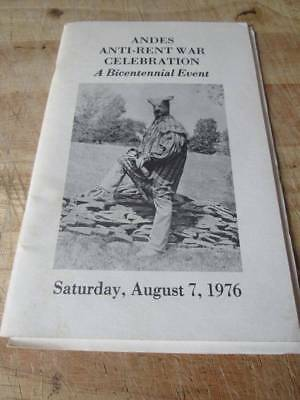 1976 ANDES ANTI-RENT WAR CELEBRATION Andes Ny Booklet 44 pages