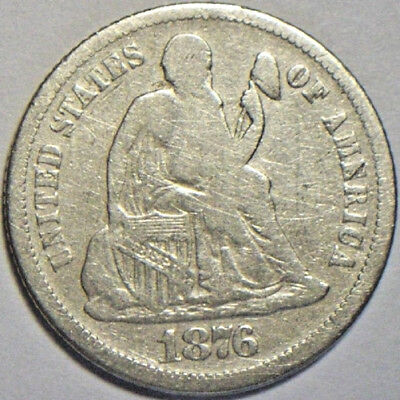 1876 S 10c Seated Liberty Dime Silver Old US Type Circulated Collectible Coin