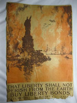 Liberty Shall Not Perish Pennell Liberty Bonds Original WWI War Poster Old Vtg
