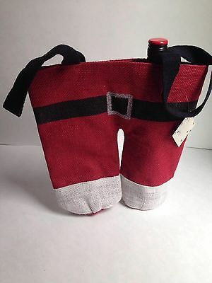 Christmas Santa Pants Double Wine Bottle Jute/Burlap Holiday Gift Bag, NEW
