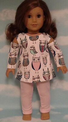 Pink Puffy Heart Tunic Top Leggings 18 in Doll Clothes Fits American Girl