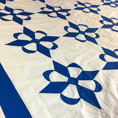 Hand Applique Blue and White Compass styled QUILT TOP