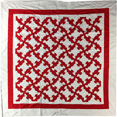 True Red & White Drunkards Path QUILT TOP - Graphic Beauty