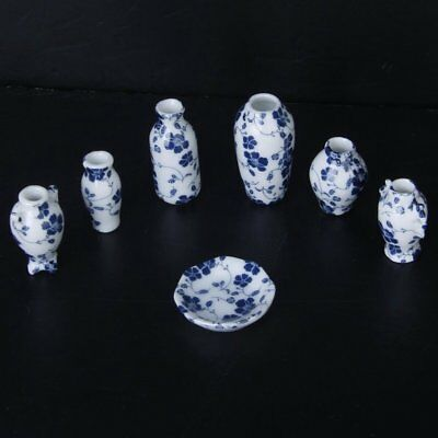 1/12 Dollhouse Miniatures Ceramics Porcelain Vase Blue Vine -7 piece A1Y6
