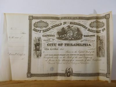 Stock Certificate Navy Yard Broad St. and Fairmount Railway Co. BLANK $500,000
