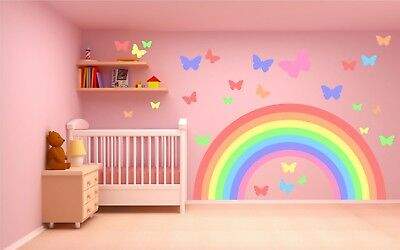 PASTEL RAINBOW & BUTTERFLIES WALL STICKER KIT nursery decal car art 2 sizes