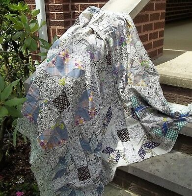 Vintage GOOSE TRACKS Quilt Top 61 x 73 Floral Plaids Couples Boats FountainsBird