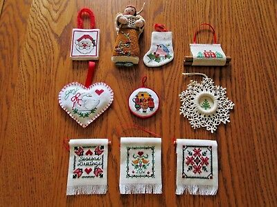 Lot Of 10 Vintage Handmade Cross Stitch Embroidered Ornaments