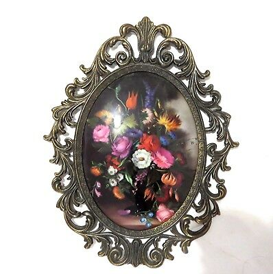 Vintage Victorian Brass Frame Convex Glass Large 10x12.5 Oval #1
