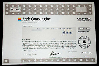 APPLE COMPUTER INC. - RARE, ISSUED STOCK CERTIFICATE (Microsoft/Google/Facebook)